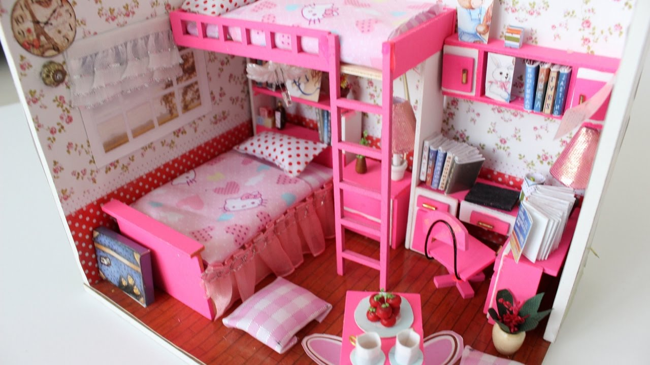 DIY Girly Miniature Dollhouse PART1 || Tia Tia - YouTube