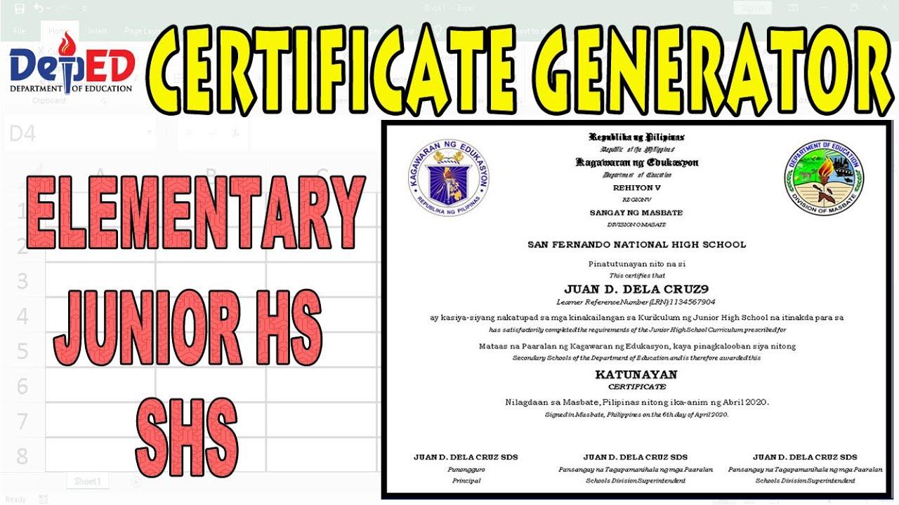 generator certificate