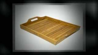 Bambienti Bamboo Wood Serving Tray With Handles