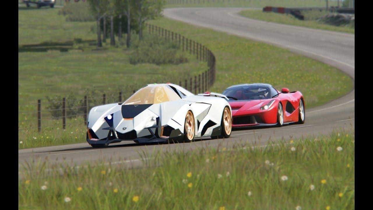 Lamborghini Egoista Concept Vs Ferrari Laferrari Hihglands Youtube