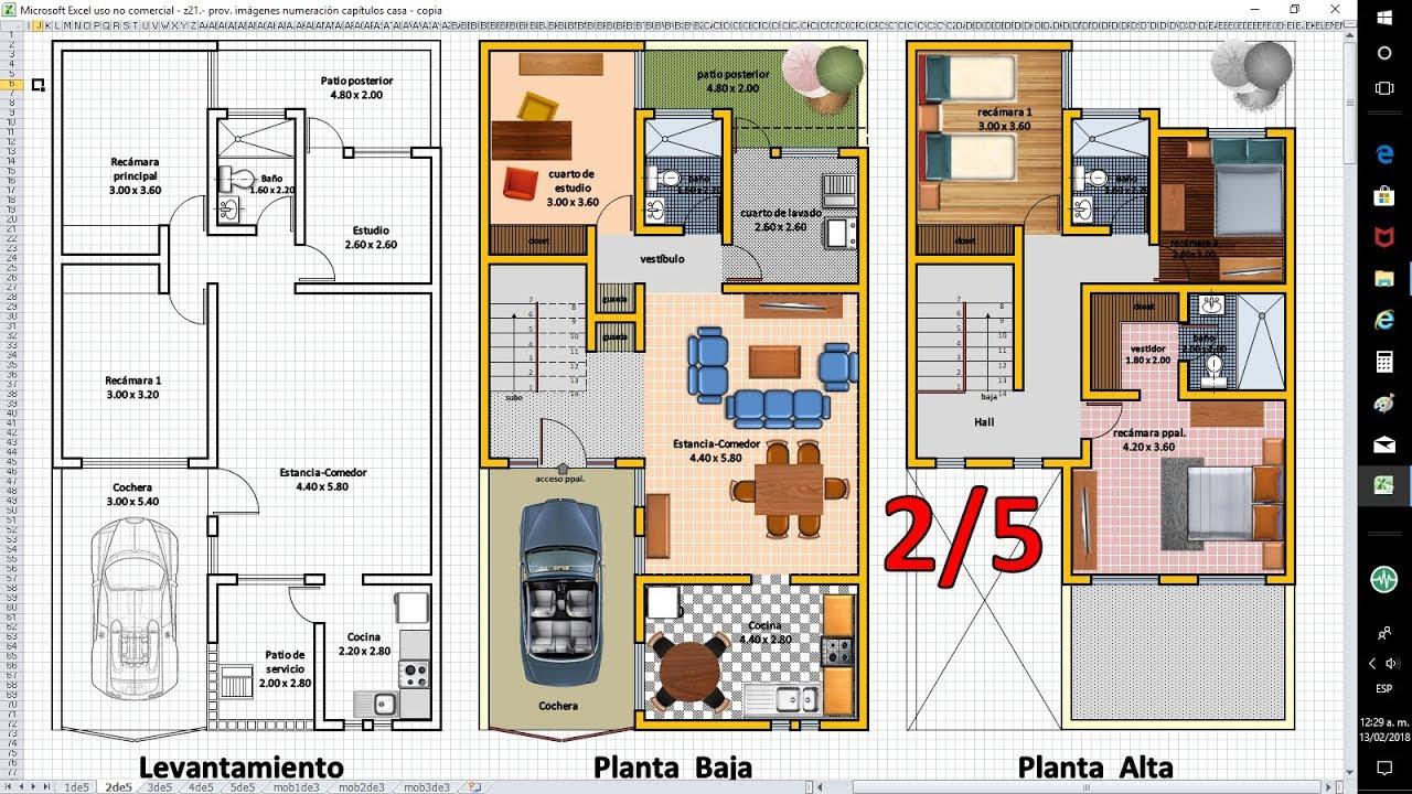 2 5 planos de casas con excel anteproyecto de ampliaci n for Dibujos de muebles para planos arquitectonicos