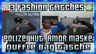 GTA 5 Online 3 FASHION GLITCHES | Polizei Hut | Polizei & Amor Outfit | Duffle Bag HD