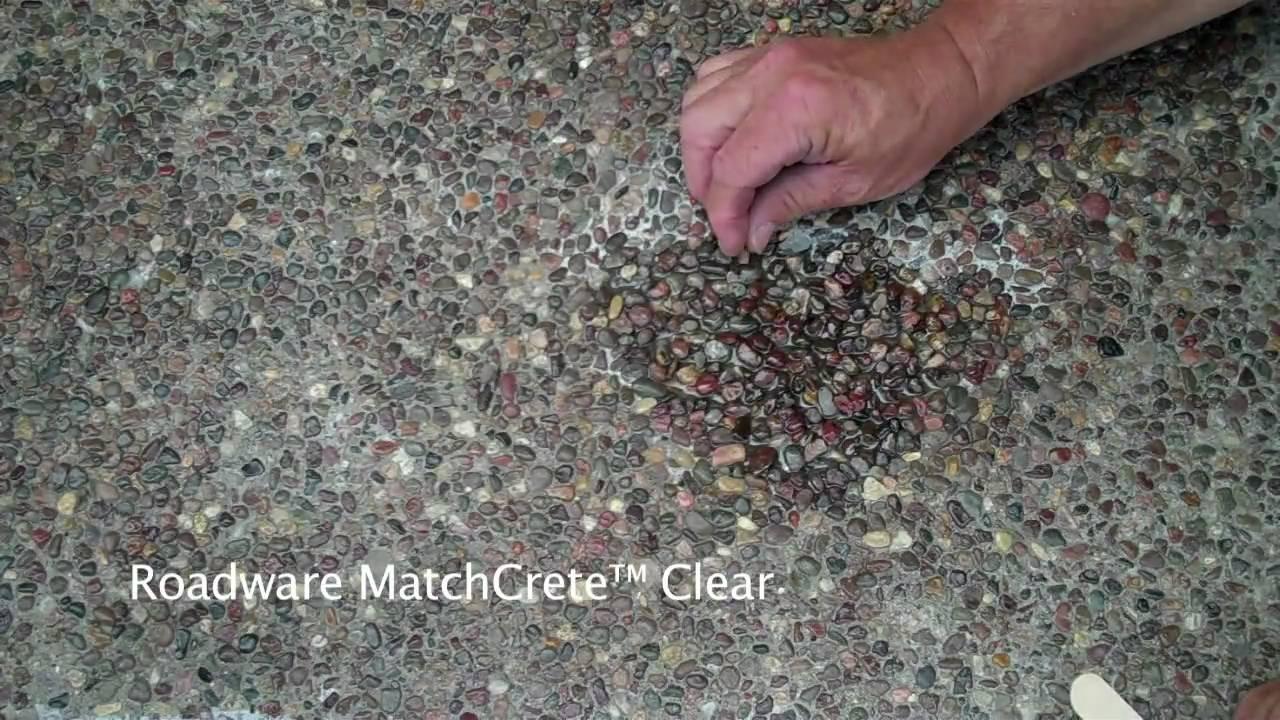 roadware matchcrete clear exposed aggregate concrete repair