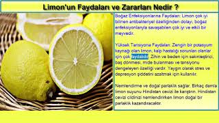 Limonun Faydaları ve Zararları Nedir? Limon Suyunun Faydaları Nelerdir?