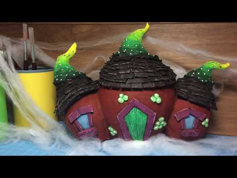 How To Make a Paper Mache Halloween Haunted House Decoration