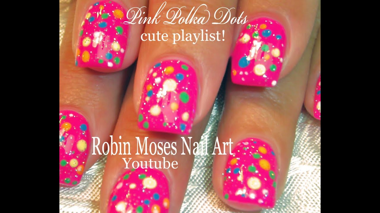 Nail Art Easy Hot Pink Polka Dot Nails For Beginners Youtube