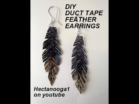 Jewelry Making diy:  DUCT TAPE FEATHER EARRINGS, duck tape crafts, video # 1115