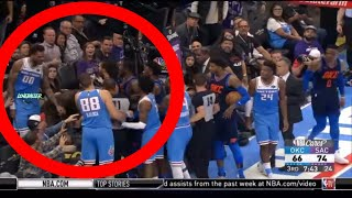 Russell Westbrook Fight Willie Cauley-Stein Gets MANHANDLED By Steven Adams ! Thunder vs Kings