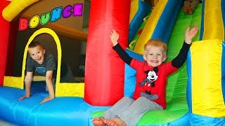 GIANT BOUNCER STUCK IN OUR HOUSE!  Little Tikes GIANT SLIDE Inflatable Bouncer Kids Toy Playtime thumbnail