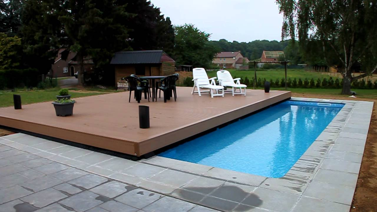 Piscine terrasse youtube for Abri piscine rideau