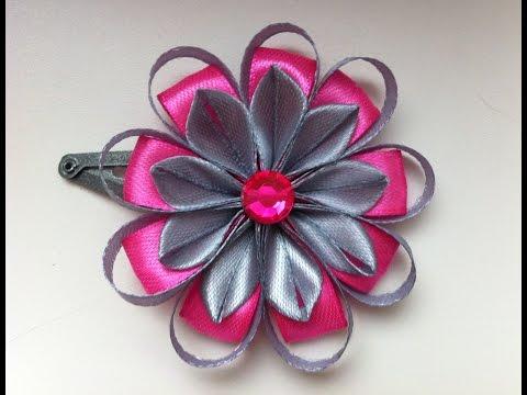 Украшение на заколку Канзаши / Серо-розовый цветок / Цветок из узких лент