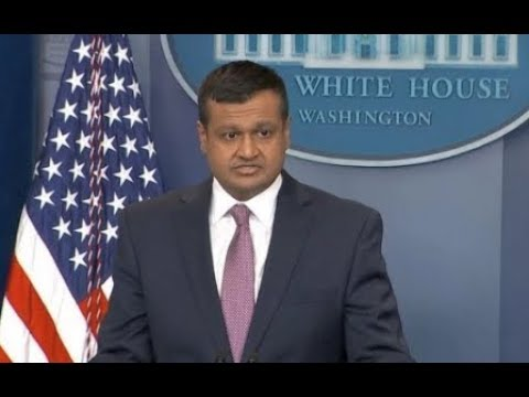 Raj Shah Stress Relief At WH Press Conference
