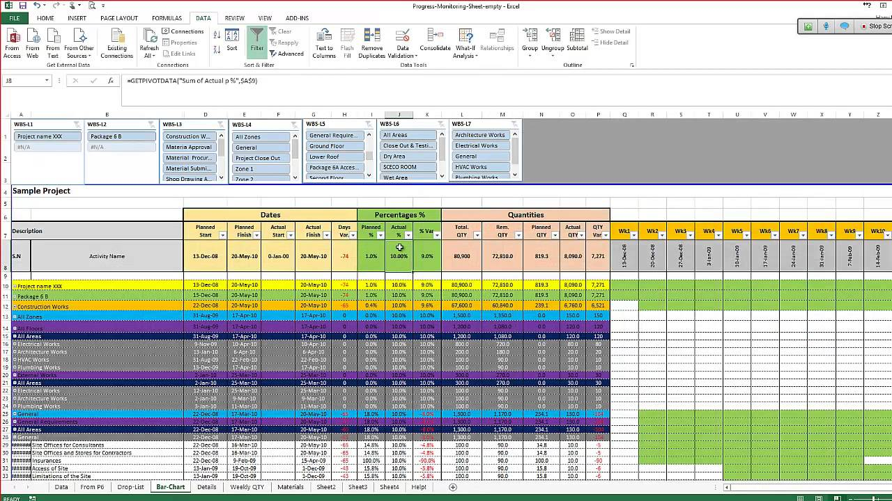 monitoring and controlling excel sheet  from primavera to