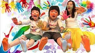 물감놀이 색칠공부 learn colors & play colors  for kids pretend play 색칠놀이 색깔놀이 미술놀이 컬러배우기 손도장 발도장