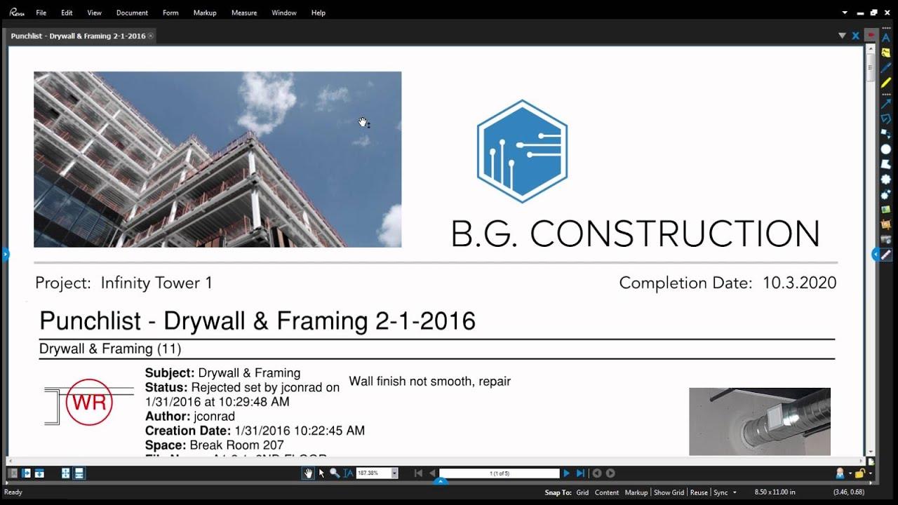 Revu 2016: Batch Markup Summary