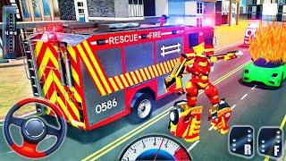 İtfaiye Robotu Kamyon Dönüşümü - Kurtarma Kahramanı Acil Durum Simülatörü - Android GamePlay