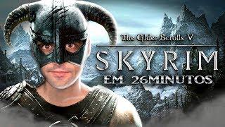 Zerando Skyrim em 26 MINUTOS, muitos GLITCHES - REACT