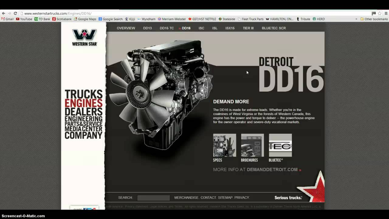 2013 Detroit Diesel D16 600 HP or 2013 Cummins ISX 600 HP
