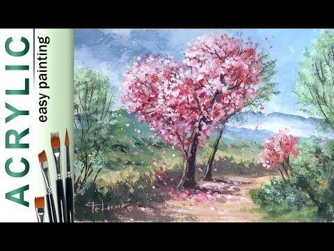 """Heart tree. Spring landscape"". How to paint🎨ACRYLIC tutorial DEMO"