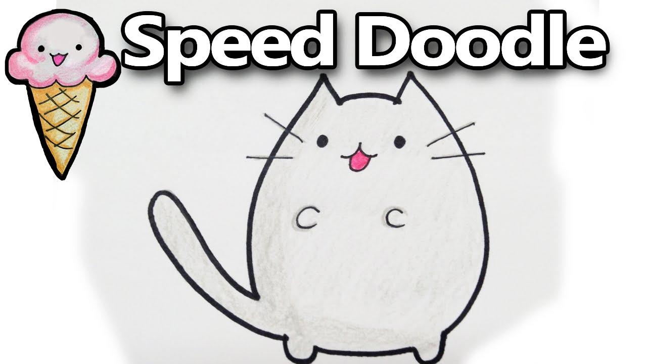 Drawing Pusheen A Cute Cartoon Cat Kawaii Timelapse Youtube