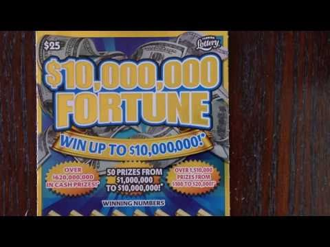 $25 $10,000,000 Fortune Florida Lottery Scratch Off Ticket