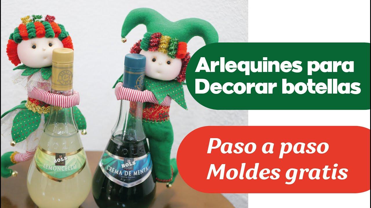 Tutorial - Arlequines Navideños para decorar botellas (Todo a mano)
