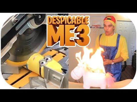 MINION DESTRUCTION! DESPICABLE ME 3 TOY REVIEWS VS FIRE & CHAINSAW!