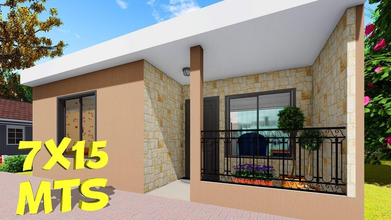 Plano De Casa De 7x15 Metros Con 3 Dormitorios