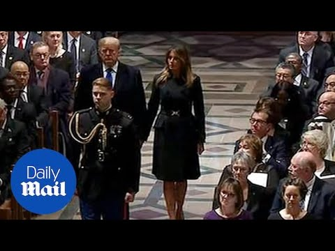 Donald And Melania Trump Arrive At The Funeral Of George H.W. Bush