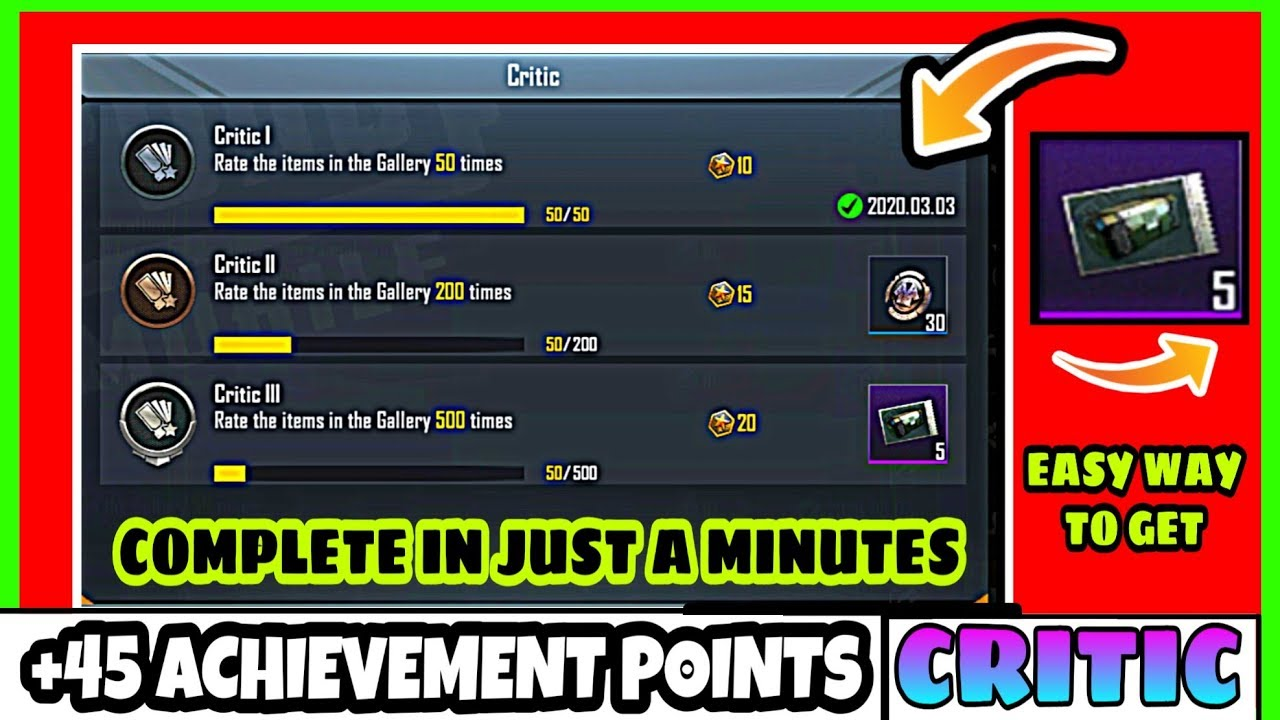 Download Complete Easily (Critic Mission) How To Complete Critic Achievement in Pubg Mobile