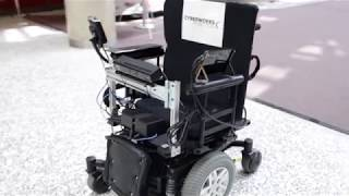 A prototype of a cutting-edge self-driving wheelchair in development at University of Toronto Institute for Aerospace Studies in conjunction with Cyberworks Robotics.