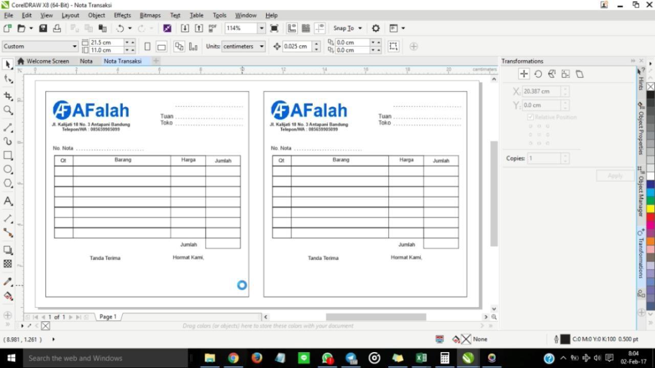 Tutorial Membuat Design Nota Dengan Coreldraw
