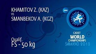 Qual. FS - 50 Kg: A. SMANBEKOV (KGZ) Df. Z. KHAMITOV (KAZ) By TF, 10-0