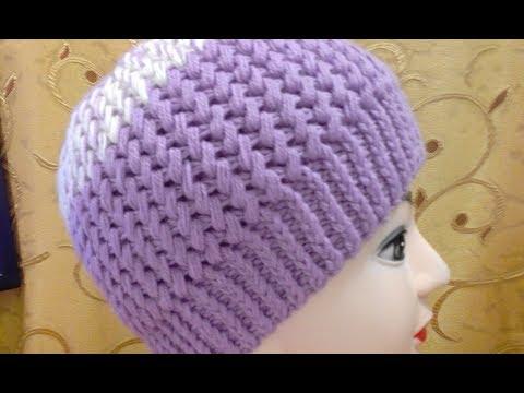 Видео вязания шапок спицами для женщин