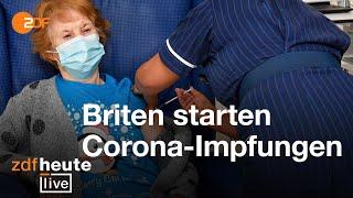 Als erste britin wird die 90-jährige margaret keenan regulär mit dem impfstoff von biontech/pfizer behandelt. unser korrespondent andreas stamm berichtet vom...
