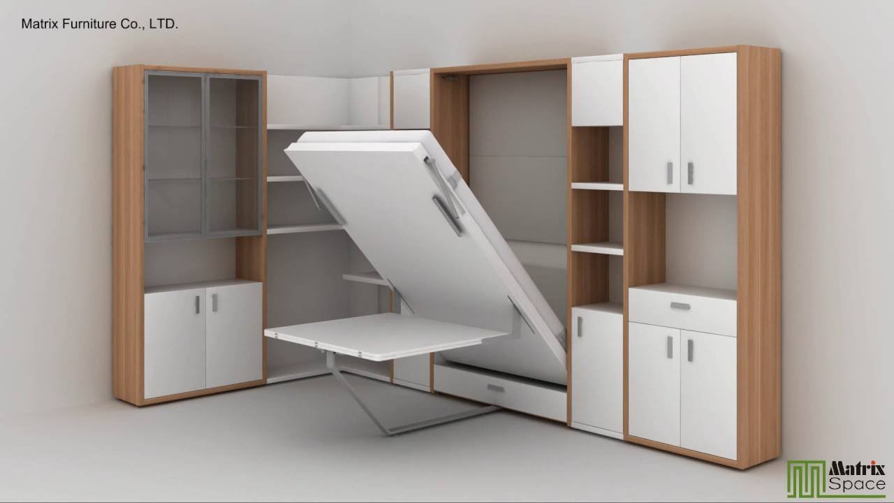 Matrix Space Wall Bed Murphy Bed Space Saving Furniture Collection 2016 -  YouTube
