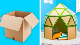 EASY DIY CARDBOARD PLAYHOUSE || 5-Minute Decor Projects With Cardboard