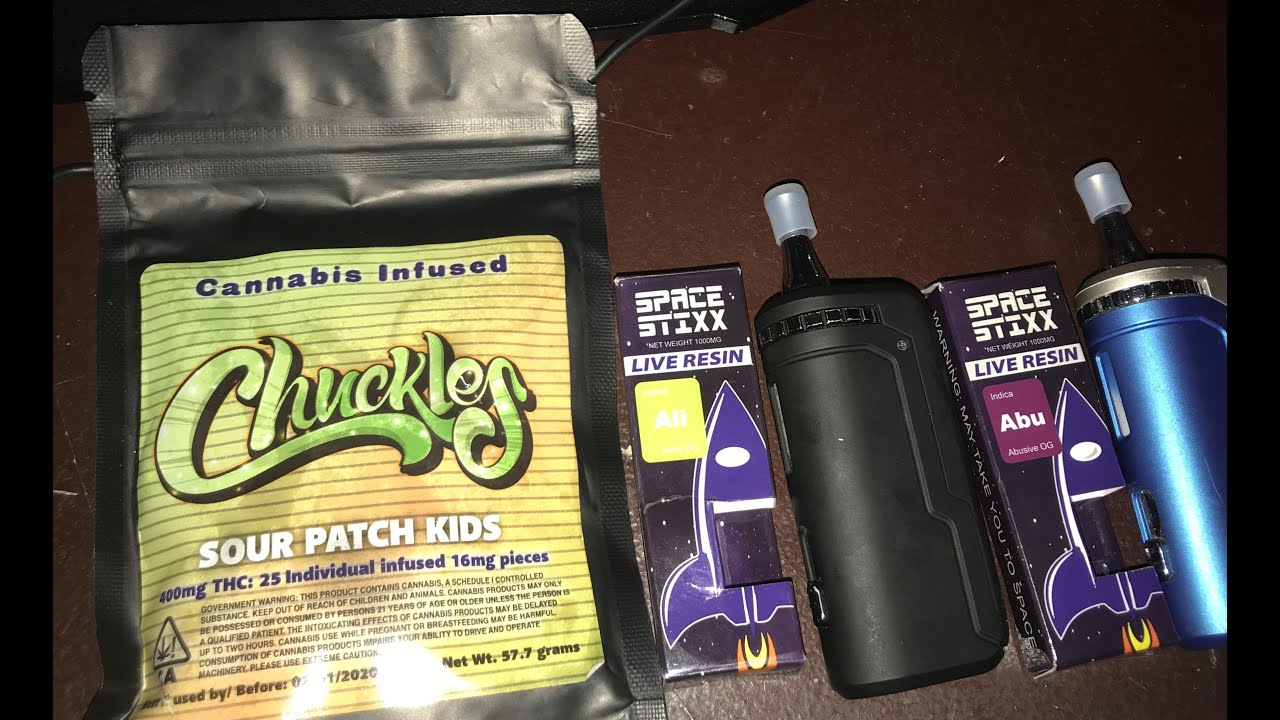 Space Stixx Alien OG and Abusive OG and Edible Sour Patch Kids
