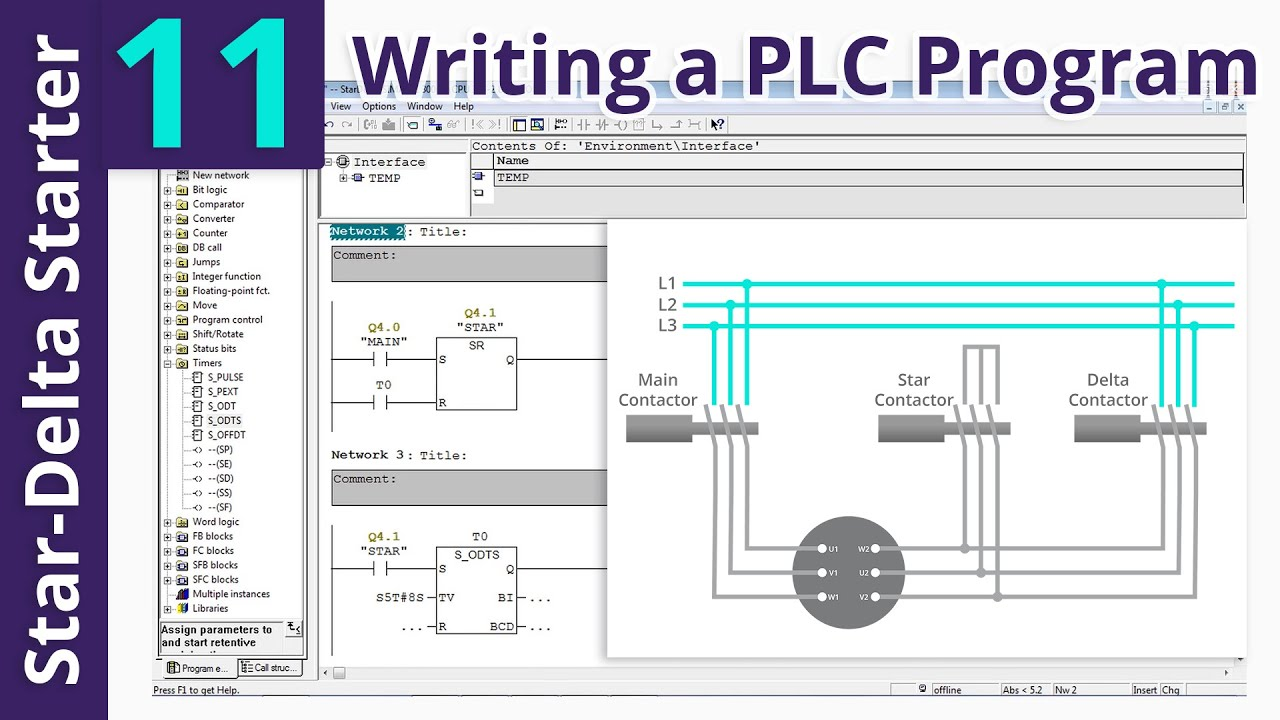 plc star delta starter wiring diagram audi a6 radio program and part 11 youtube