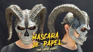 Calavera Cornuda   Máscara hecha con Papel   ¿Cómo Se Hace?   Time Lapse Video