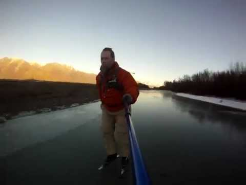 On a Flat Earth...Nordic Skating the Knik River