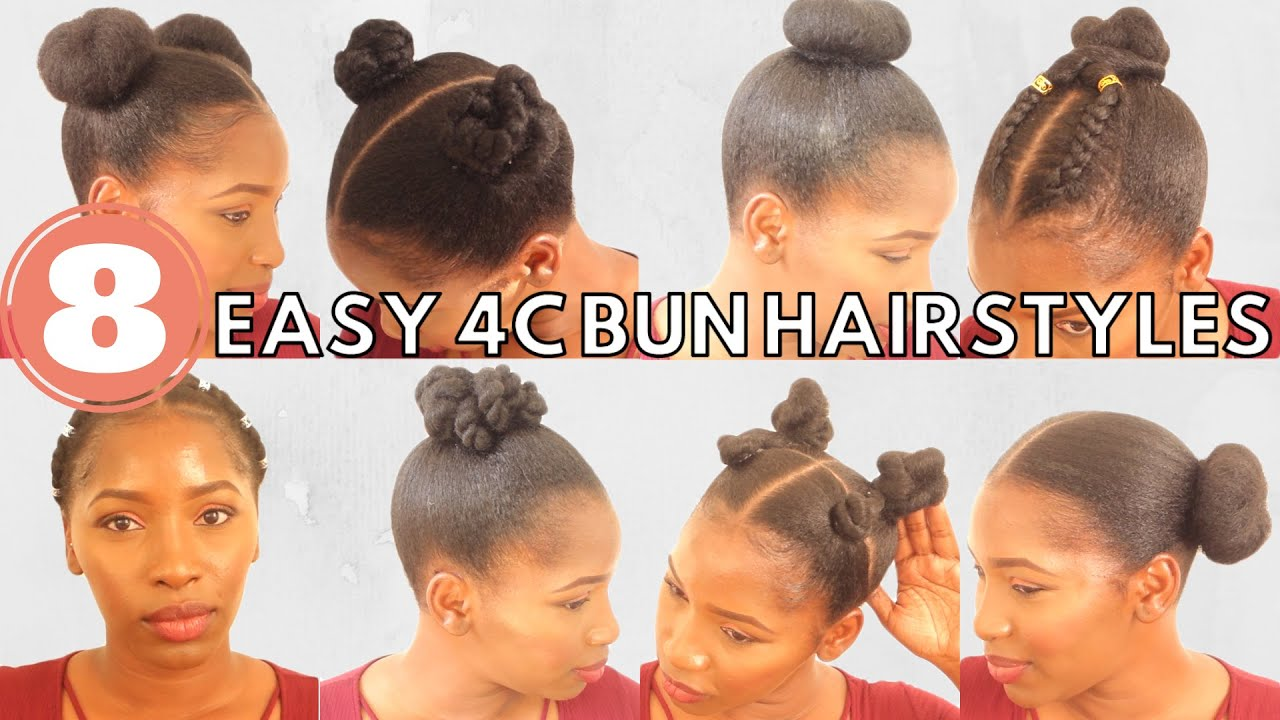 8 quick and easy bun natural hairstyles on short 4c hair