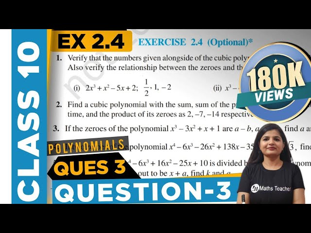 Polynomials   Chapter 2 Ex 2.4 Q - 3   NCERT   Maths Class 10th