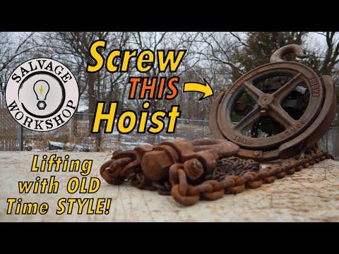 Screw Hoist ~ RESTORATION ~ All Mechanical Chain Hoist ~ Back In Service!