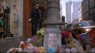 Glee - Kurt and Blaine lay some flowers down for the bashing victim 5x15