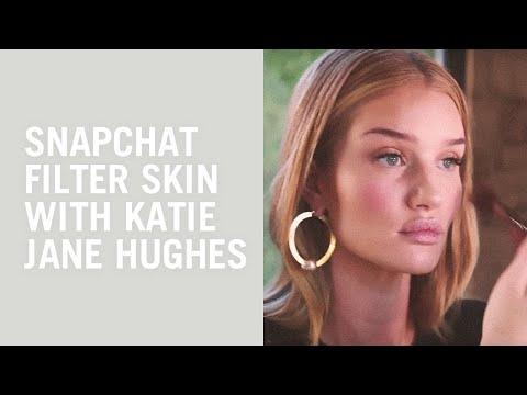Rosie HuntingtonWhiteley and Katie Jane Hughes makeup tutorial: Snapchat filter skin