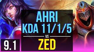 AHRI vs ZED (MID) | KDA 11/1/5, Legendary | BR Grandmaster | v9.1