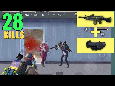 M249 + SCOPE 6x MADNESS | 28 KILLS DUO VS SQUAD | PUBG MOBILE