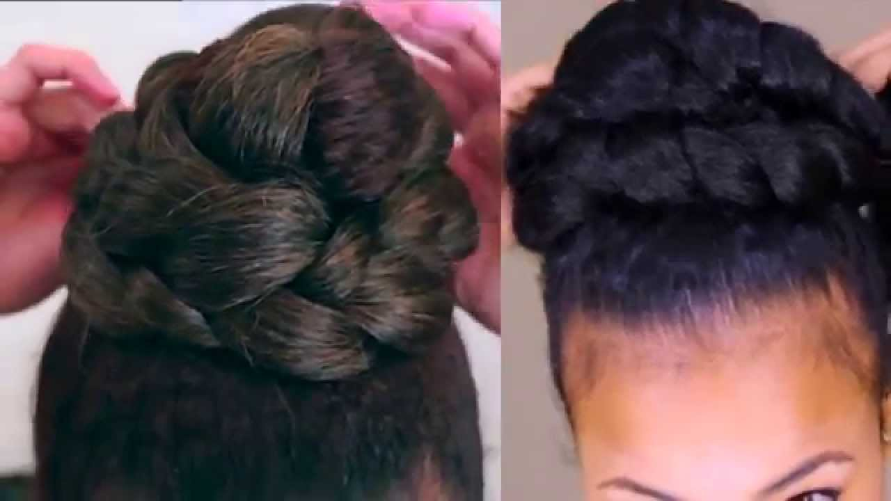 Natural Hair Braided High Bun Tutorial Collab Youtube Not sure about where to get # 9 man bun with highlights. natural hair braided high bun tutorial collab