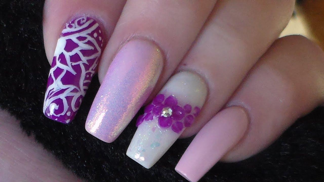 Acrylic Nails | New Design - YouTube